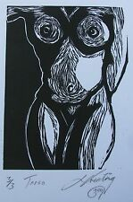 "LYNN KEATING AUSTRALIAN BLACK INK LINOCUT ""NUDE TORSO"" LTD ED 2007"