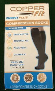 Copper Fit Ice Compression Socks Menthol Infused Cooling S/M Black Unisex
