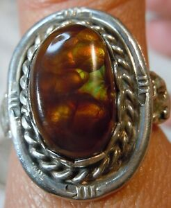 Sterling Silver 9.95 carat Fire Agate Gemstone Ring size 9 1/2 Jewelry unisex