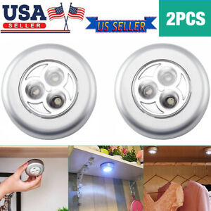 2Pcs 3 LED Touch Push On/Off Light Self-Stick On Click Battery Operated Lights