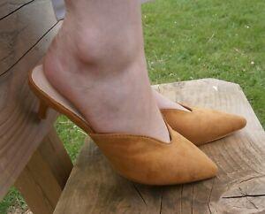 Womens Kitten low Heel Beige Tan Mule Sandal Slip On casual Shoes comfy Sliders
