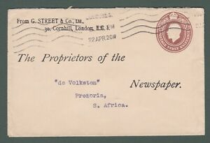1920 GB - GV 1½d stamped to order envelope from London to South Africa (P756)