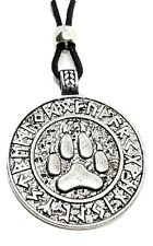 Viking Wolf Paw Pendant Necklace Rune Amulet Heathen Asgard Norse Cord Beaded