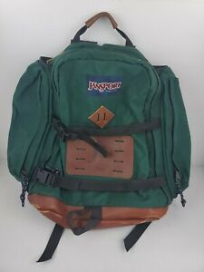 Vintage 90s Jansport Leather Backpack Day Pack Made in USA With Leather RARE