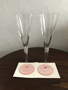 2 Riedel Pink Toasting Flute Glass Crystal Champagne Ouverture Pair Glasses