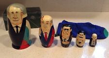 Vintage Nesting Russian Leaders Dolls Authentic Models New Rare 5 Pieces + Bag