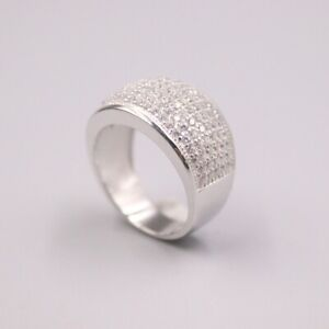 Solid 925 Sterling Silver Ring pave set Natural Zirconia Ring Band For Woman