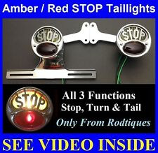 Amber & Red STOP Taillights w/ Plate Bracket Pickup Truck Hot Rod Dodge Ford