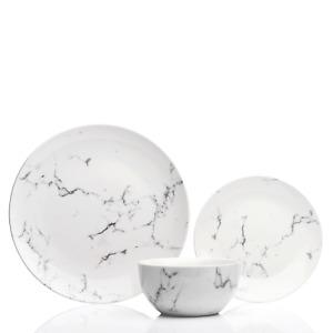 12pc Porcelain Marble Effect Glossy Dinner Set Side Plate Bowls Wedding Gift