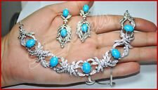 6.13ct NATURAL DIAMOND TURQUOISE 14k SOLID WHITE GOLD ANNIVERSARY NECKLACE SET