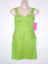 NWT - BETSEY JOHNSON Polka Dot Peplum Dress, Lime / White, Size 10, MSRP $118