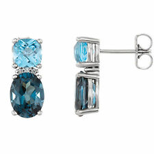 London Blue Topaz, Swiss Blue Topaz & Diamond Earrings In Platinum