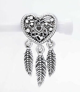 925 Sterling Silver Openwork Heart & Three Feathers Dreamcatcher European Charm