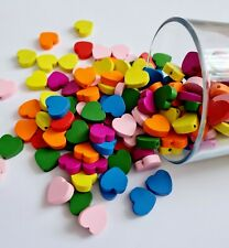 Wooden Beads Coloured 20pcs 18mm size HEART with 2mm Hole. Craft Jewellery DIY