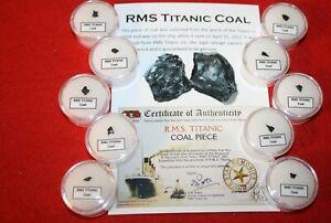 A Piece of History, single gem jar display - RMS Titanic coal w/ ID card COA