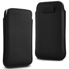 For - Sony Xperia T3 - Black PU Leather Pull Tab Case Cover Pouch