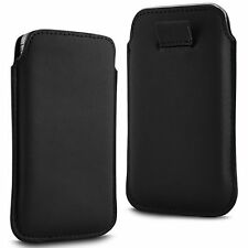 For - Sharp Aquos SH8298U - Black PU Leather Pull Tab Case Cover Pouch