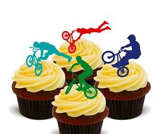 BMX Bike Riding  Pack of 12 Edible Cup Cake Toppers, Fairy Bun Decorations