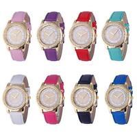 Fashion Women's Geneva Fashion Leather Analog Stainless Steel Quartz Wrist Watch
