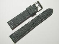 20mm Hadley-Roma MS850 Mens Grey Cordura Canvas Watch Band Strap