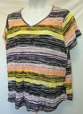 WOMEN'S PLUS SIZE 1X 16W VIBRANT STRIPED TEXTURED SUMMER SHIRT - CLOTHING NEW