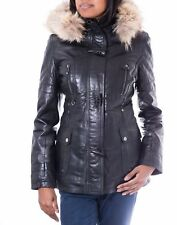 Women Black Leather Fur Hooded Quilted Design Casual Fitted Duffle Style Jacket