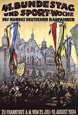 Art ad alemán bicicleta ciclo reunión Frankfurt 1924 cartel impresión