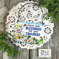 MINI Sign (fits door knob) Count Your Blessings Not Your Troubles USA DecoWords