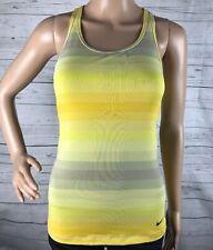 Nike Dri-Fit Tank Top XS Yellow Gray Ombre Striped Racerback Sports Bra Atheltic