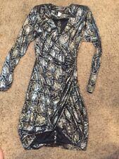 CLIMAX FOR DAVID HOWARD KAREN OKADA VINTAGE Shiny DRESS Shoulder Pads Slit