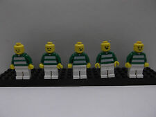 Lego lot of 5 Green Soccer Mini Figures minifigs # 2, 3, 7 and two # 10's