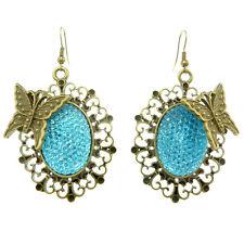 Boucles d'oreilles gothique victorien baroque métal doré papillon STRASS BLEU