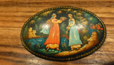 Superb Vintage russian hand painted Palekh signed Brooch [Y8-W6-A8]