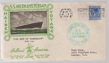 1938 Netherlands Maiden Voyage SS Nieuw Amsterdam Ship Cover to USA