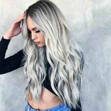 New Long Curly Wig Glueless Wigs Women Ombre Human Hair Front Charm Party Wig US
