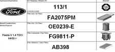 113/1 KIT FILTRI TAGLIANDO FORD FIESTA V 1.4 TDCI KW 50 CV 68