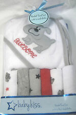 7 Pc. Baby Kiss  Hooded Towel & 6 Asstd. Wash Cloths  100% Polyester Awesome