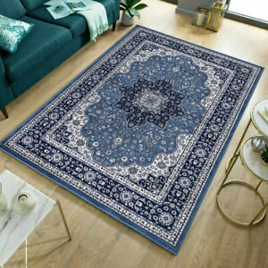 Traditional Style Living Room Blue Area Rug Classic Oriental Vintage Antique Rug