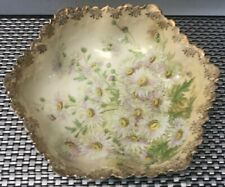 Large Antique Art Nouveau Hand Painted Daisies, Bavarian Porcelain Bowl 10� Wide