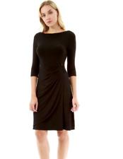 PattyBoutik Women Boatneck 3/4 Sleeve Buckle Dress size XL