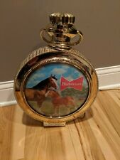 Budweiser Beer Rotating Clock Double Sided Sign Light Clydesdale Clean Working