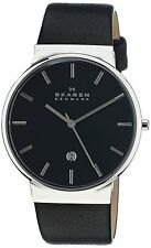 Skagen Men's SKW6104 Date Stainless Steel Black Dial Black Leather Band Watch