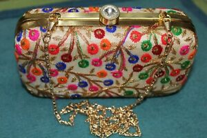 Indian Wedding multi color Clutch,Pouch,Bag Bridal thread, sequin work purse