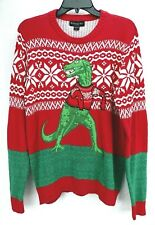 Mens Ugly Christmas Sweater Red White Green T-Rex Dinosaur Size S Blizzard Bay