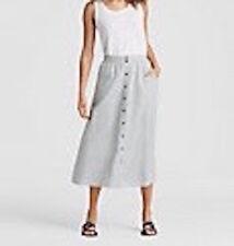 NWT Eileen Fisher natural button front stripe hemp organic cotton skirt S/P