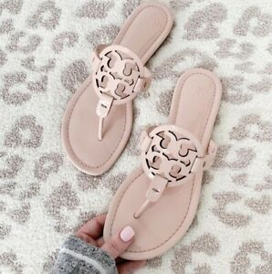 Tory Burch Miller Logo Leather Patent Leather Seashell Sandals 9