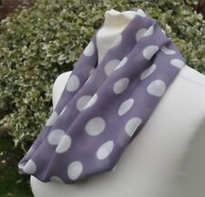 Cowl/snood Infinity Scarf soft touch chiffon  mauve & white spot