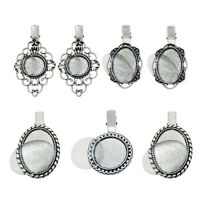 4 Sets Mixed Silver Alloy Oval Round Bezel Glass Cameo Cabs Hairpin Hair Clip