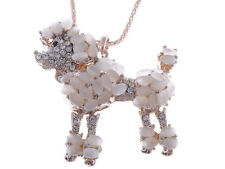 Cute Rhinestone Encrusted Poodle Necklace Peach Hued Stone Accents Xmas Jewelry