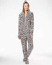 Jenni by Jennifer Moore Hooded Footed Pajamas in Leopard, Large NWT $59.50